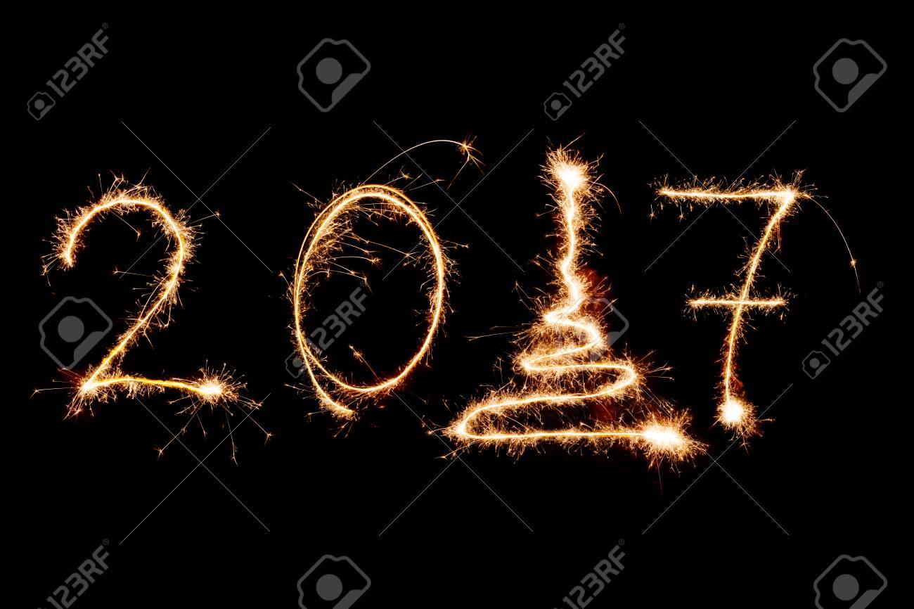 Happy New Year 2017 Geschrieben Mit Einem Feuerwerk Als Hintergrund