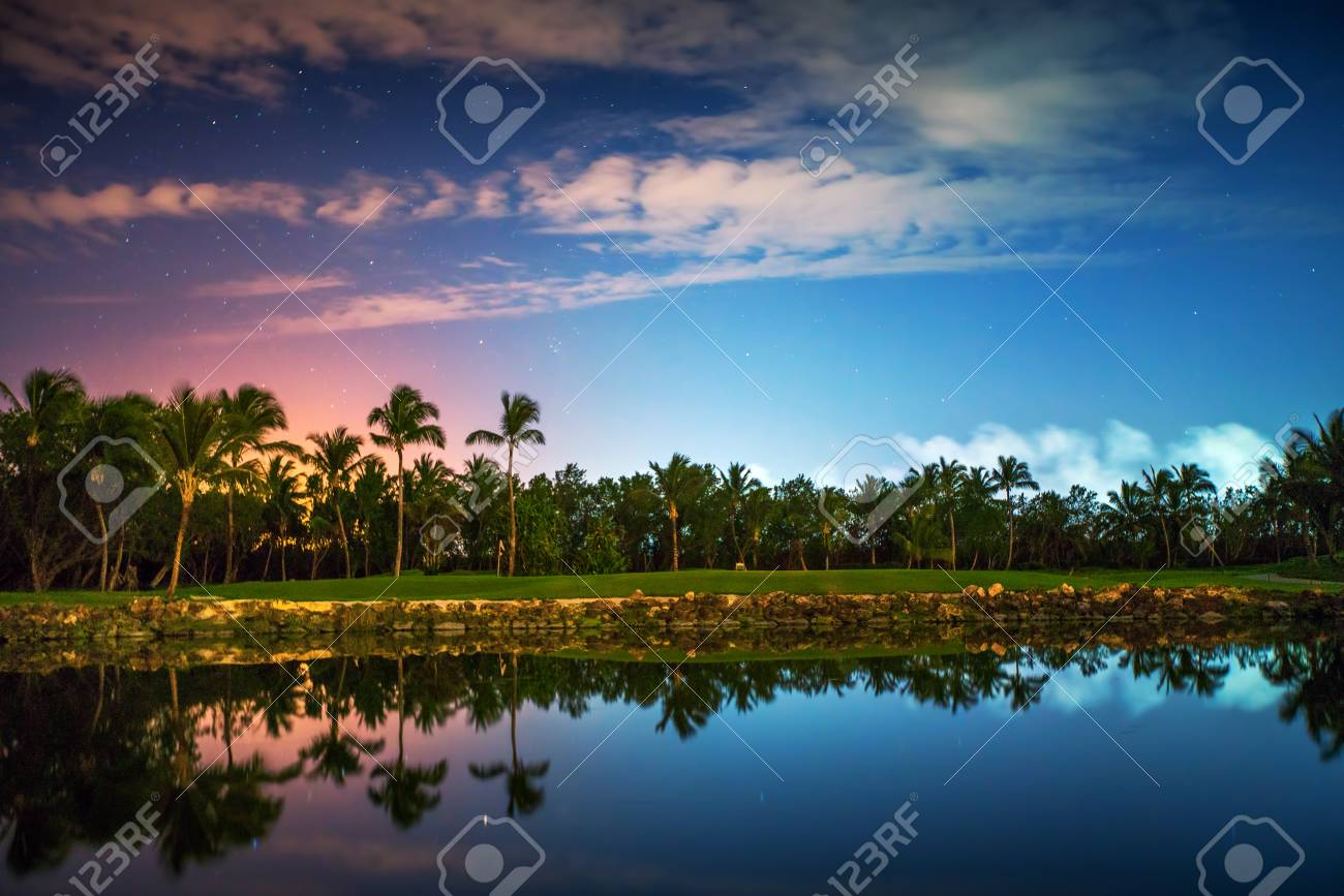 tropical golf course at sunset dominican republic punta cana stock