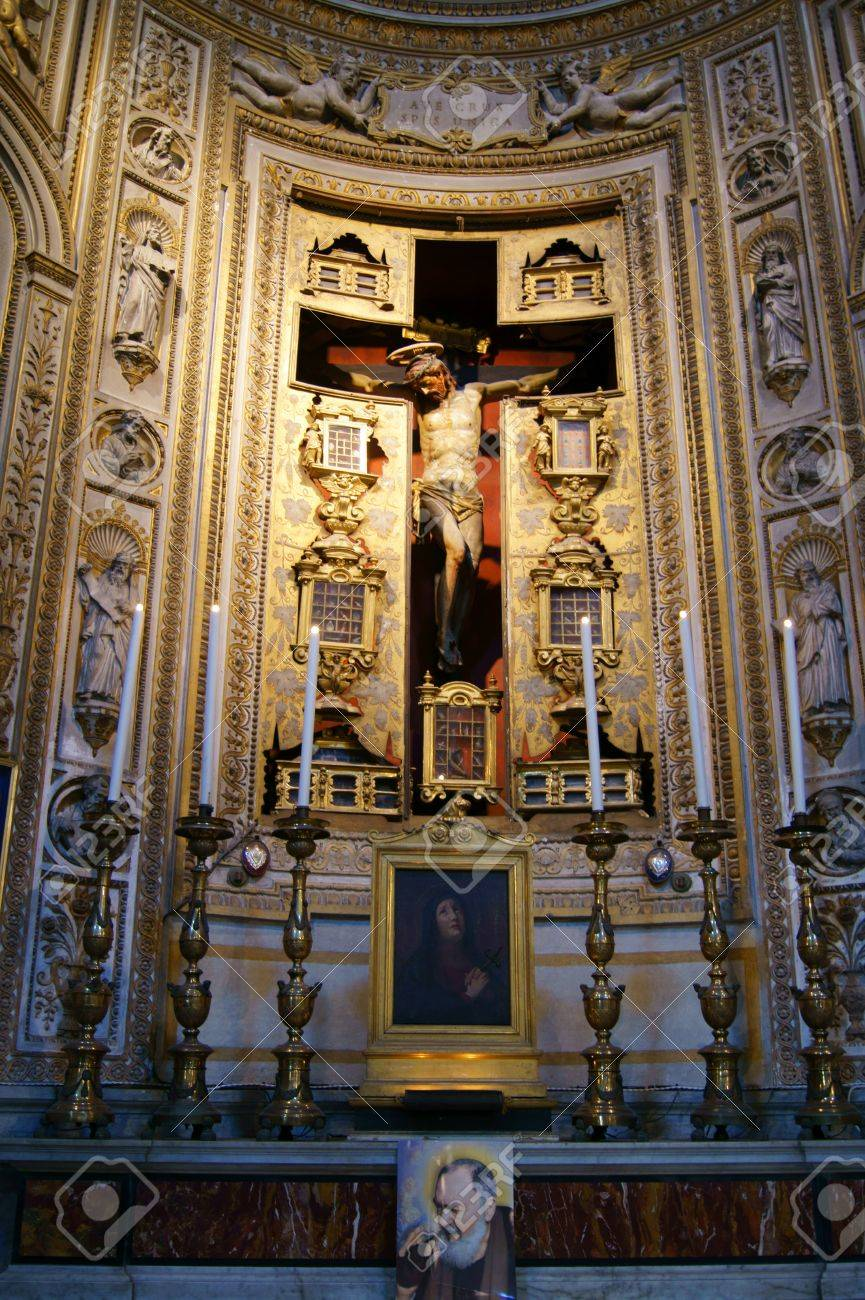 the crucifixion of jesus christ in the roman catholic church stock