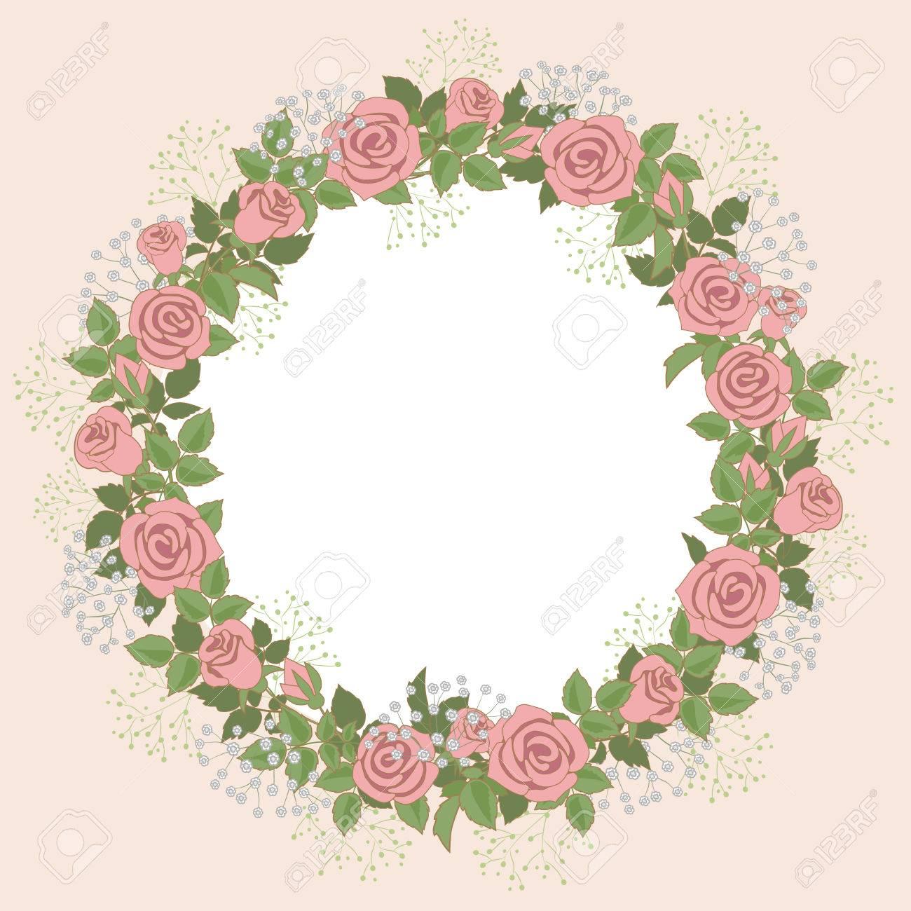 Blumenkranz Aus Rosen Fur Die Hochzeit Einladungen Und Grusskarten