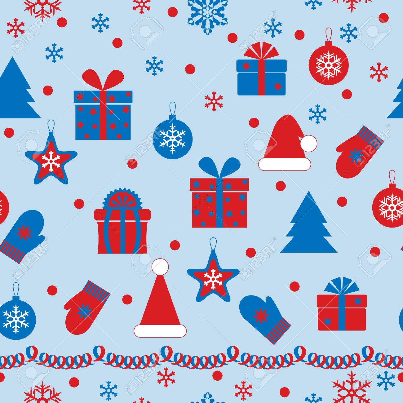 Seamless texture with holiday attributes on azure background. Stock Vector - 24024121
