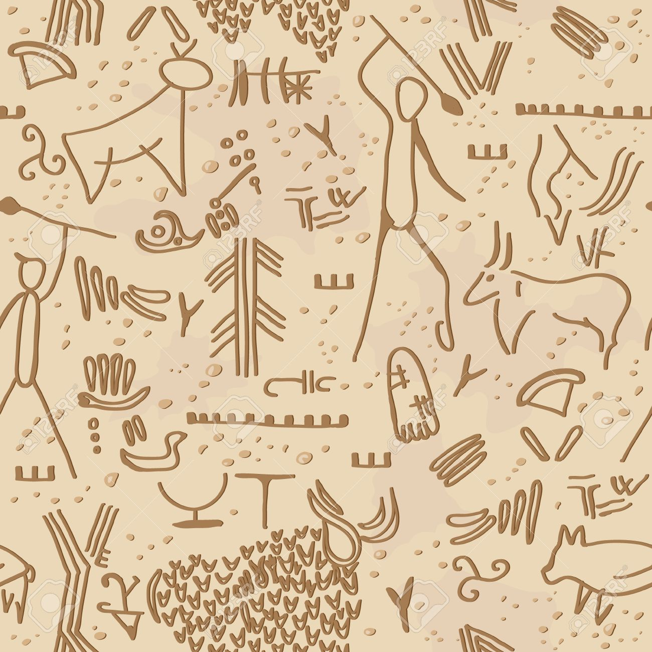 Seamless texture with cave petroglyphs - 24503653