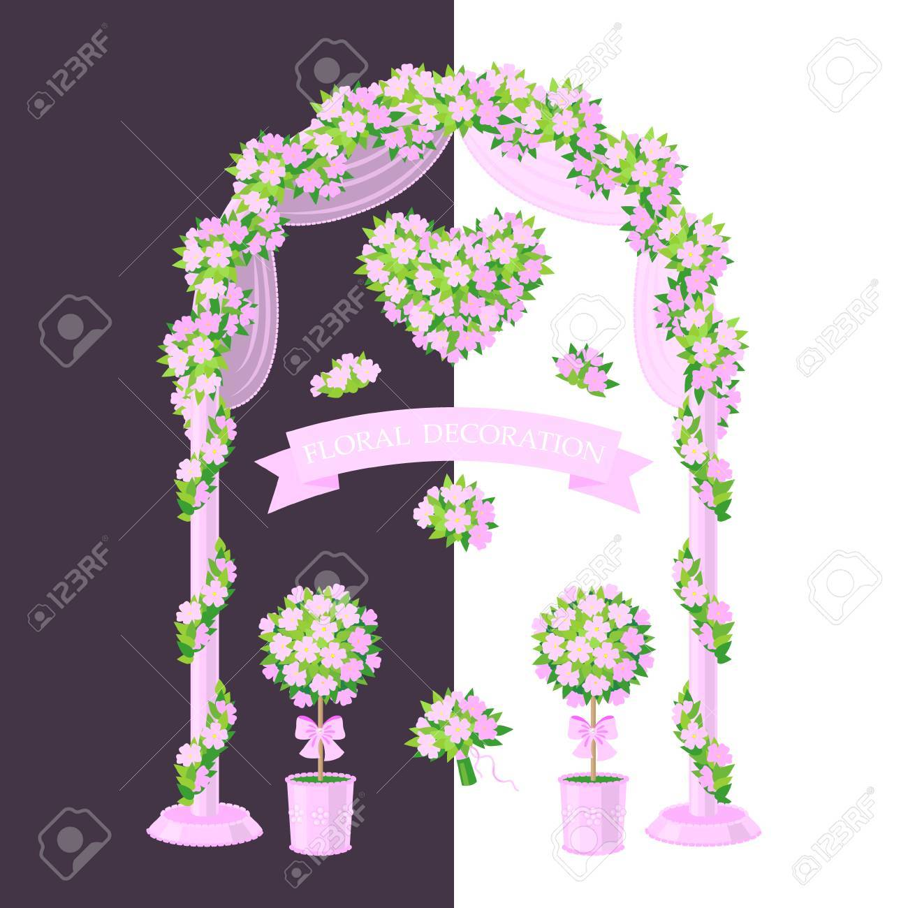 Simplified Image Of Arch Topiary Flower Heart And Bouquet Royalty Free Cliparts Vectors And Stock Illustration Image 47271217