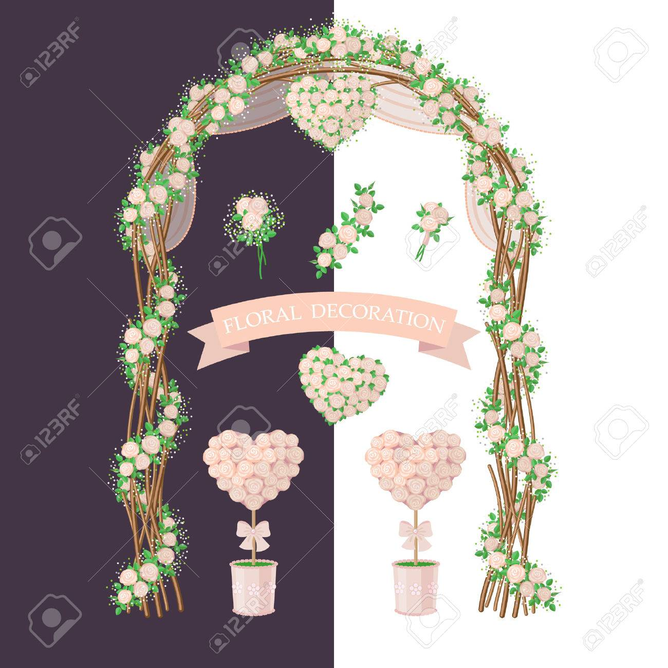 Simplified Image Of Arch Topiary Flower Heart And Bouquet Royalty Free Cliparts Vectors And Stock Illustration Image 47271229