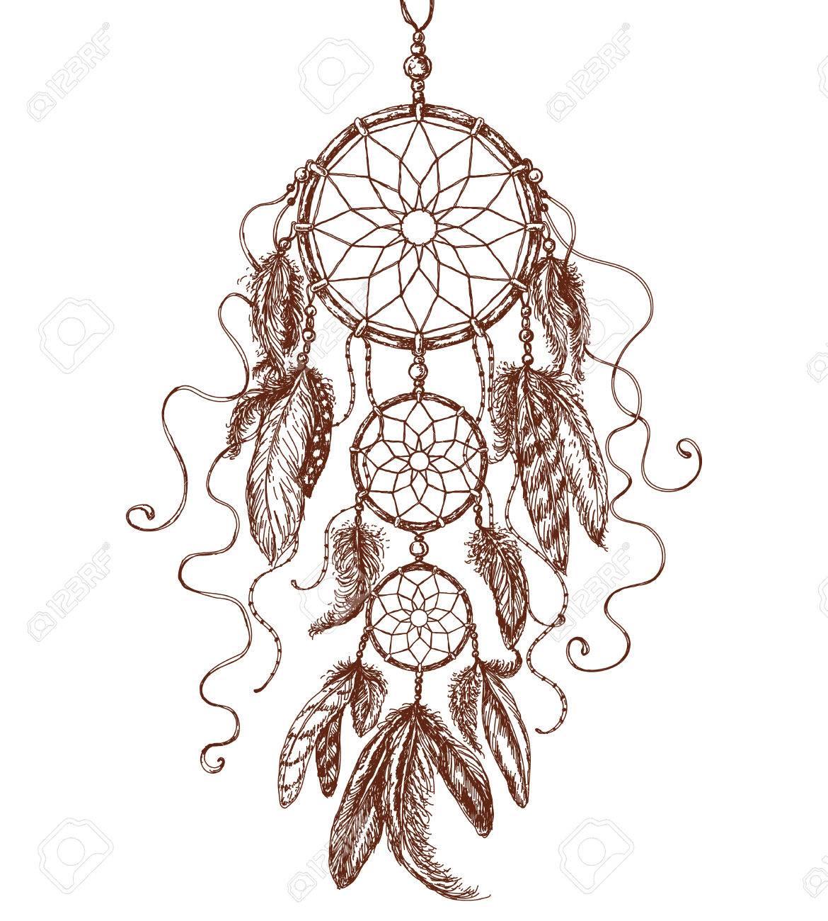 Hand Gezeichnet Indian Amulett Traumfänger Lizenzfrei Nutzbare