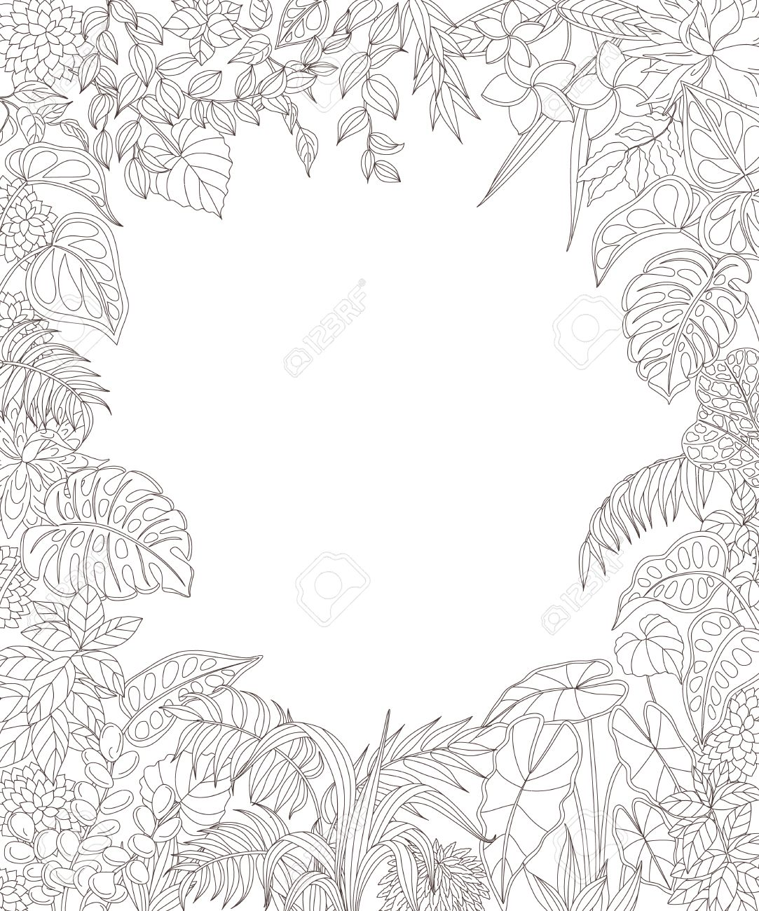 Contoured Leaves And Flowers On White Background Floral Rectangle
