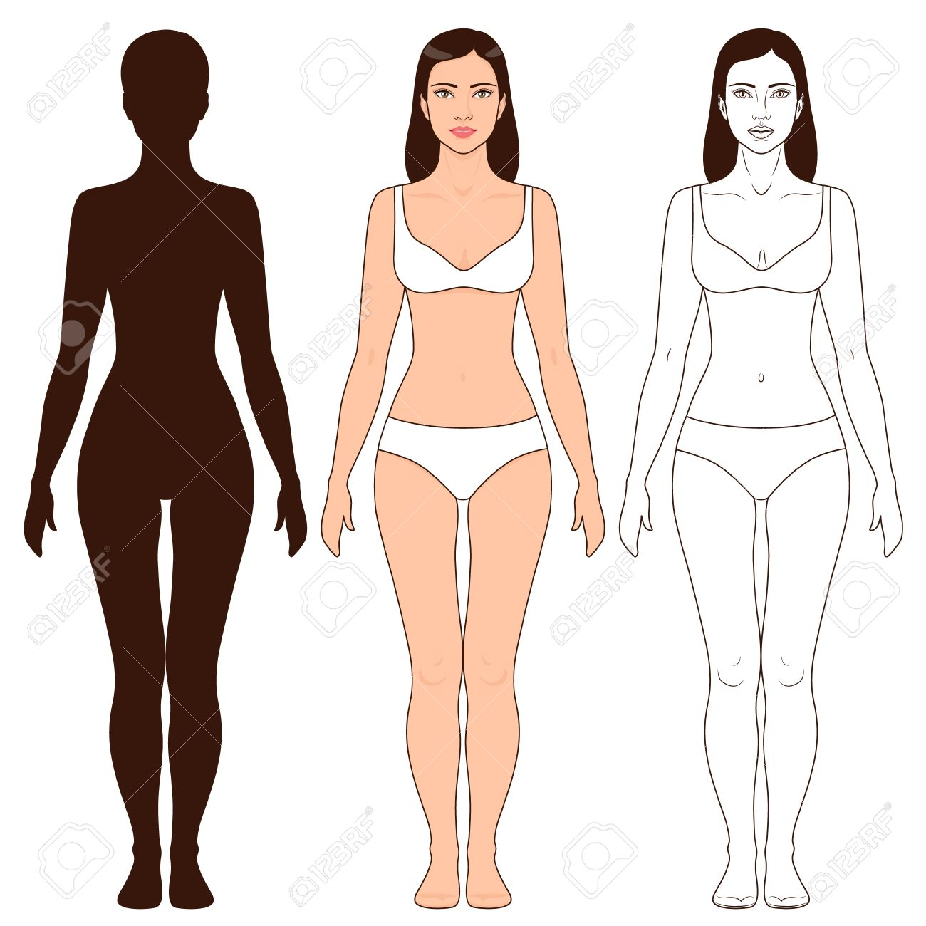 woman body shape outline and silhouette template full length