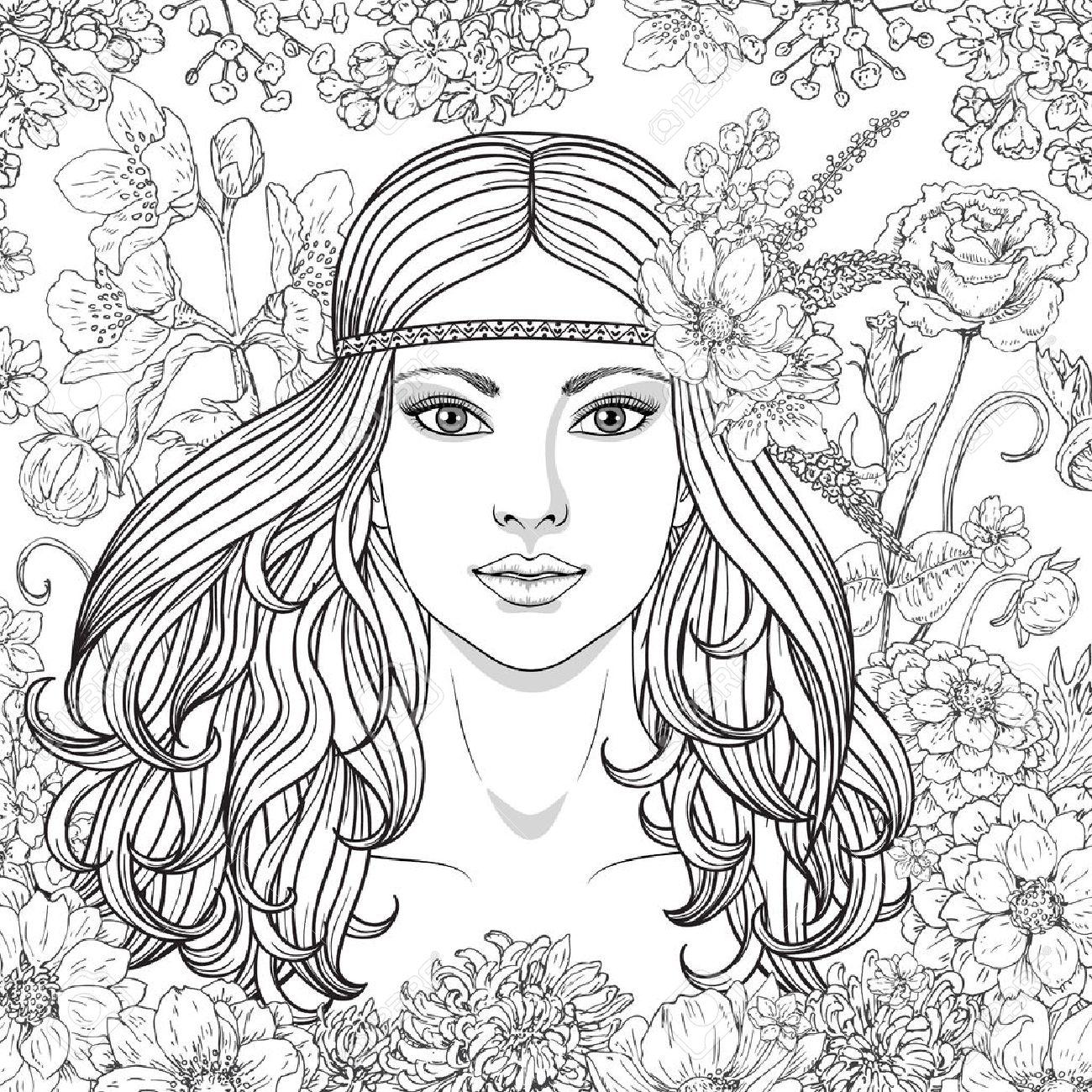 Coloriage Fleur Hippie.Unique Coloriage Hippie Fleurs Cheveux 30000 Collections De