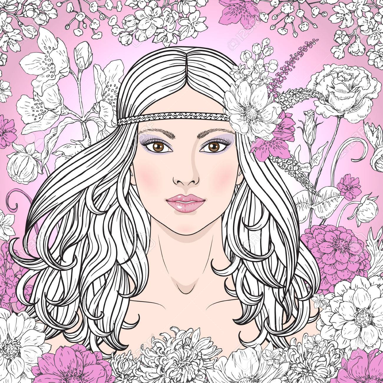Hand drawn beautiful girl with flowers on pink background doodle