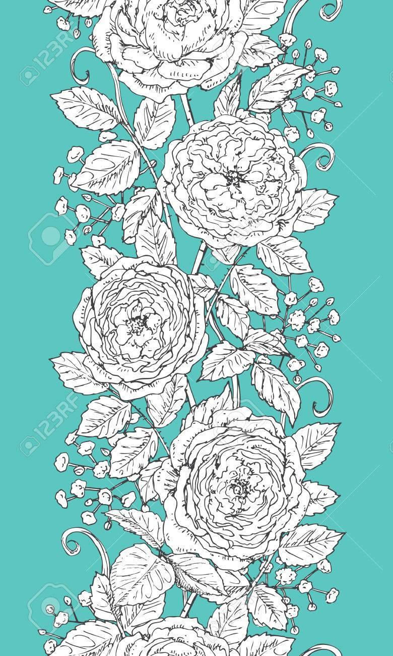 茶ローズとカスミソウと手花線パターン黒と白の落書き背景色が水色の