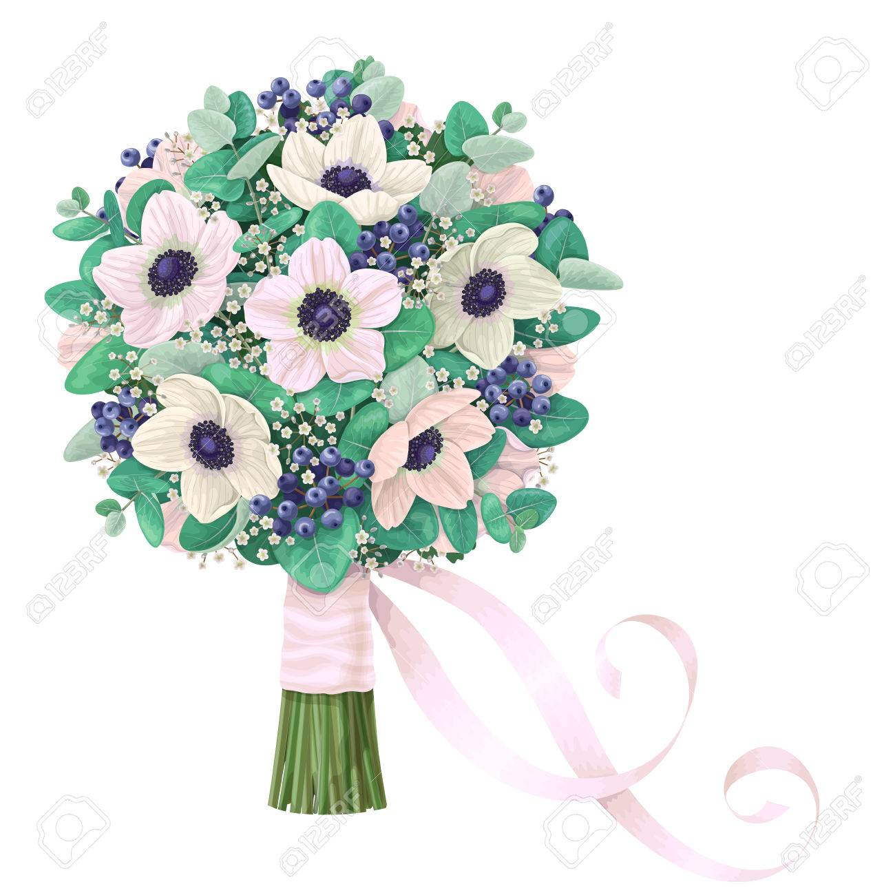 Romantic Bridal Bouquet With Anemone, Gypsophila Flowers, Eucalyptus ...