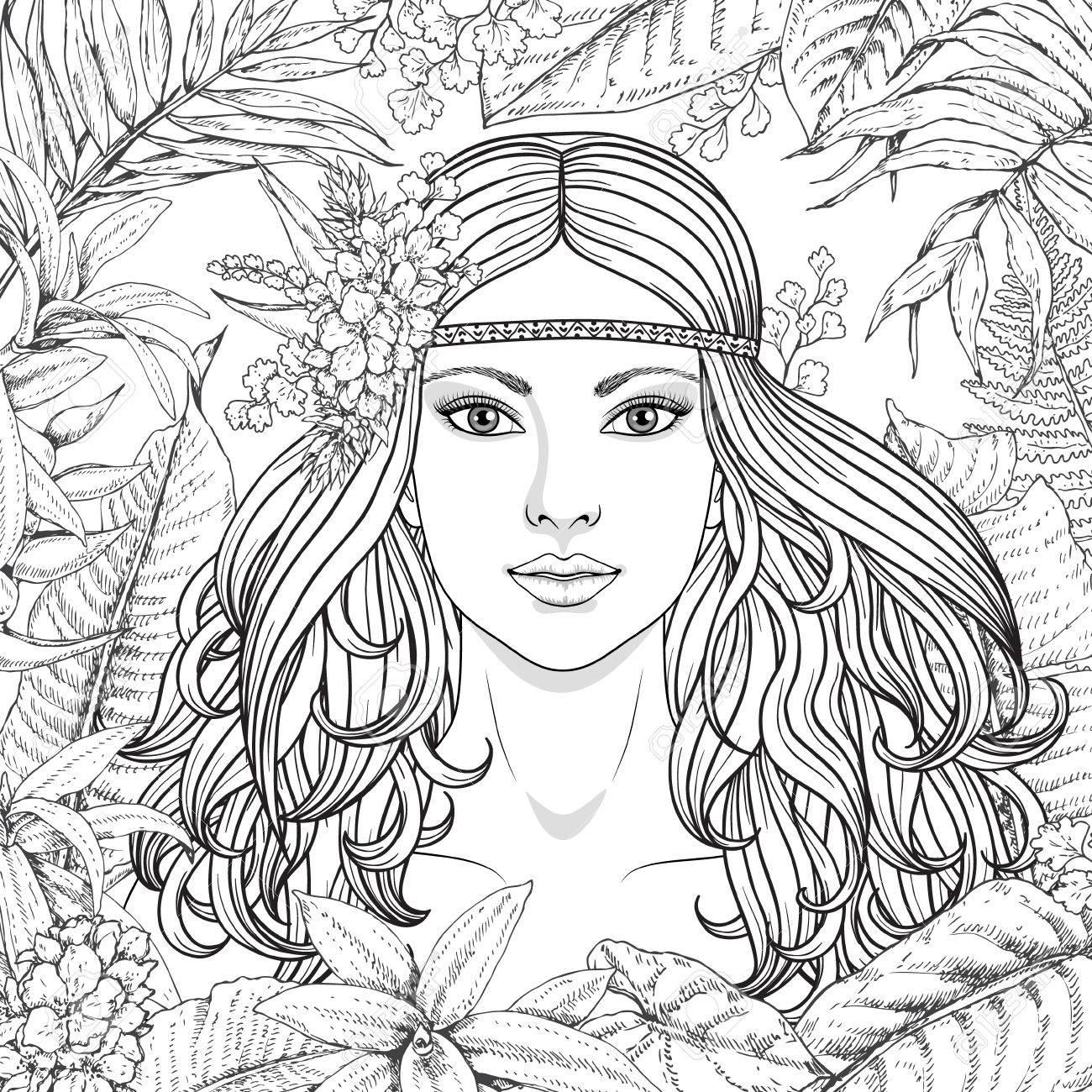 Hand gezeichnete Mädchen und Zweige, Blätter von tropischen Pflanzen.  Schwarz-Weiß-Blumen-Abbildung ausmalbilder für Erwachsene. Einfarbiges Bild  der