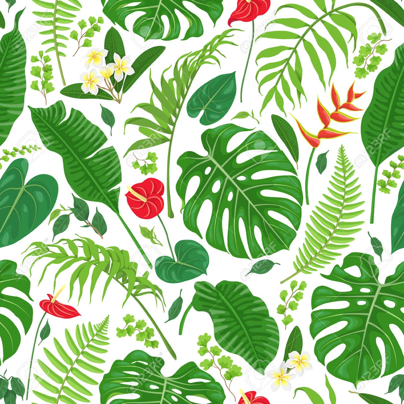 seamless pattern made with tropical leaves and flowers on white