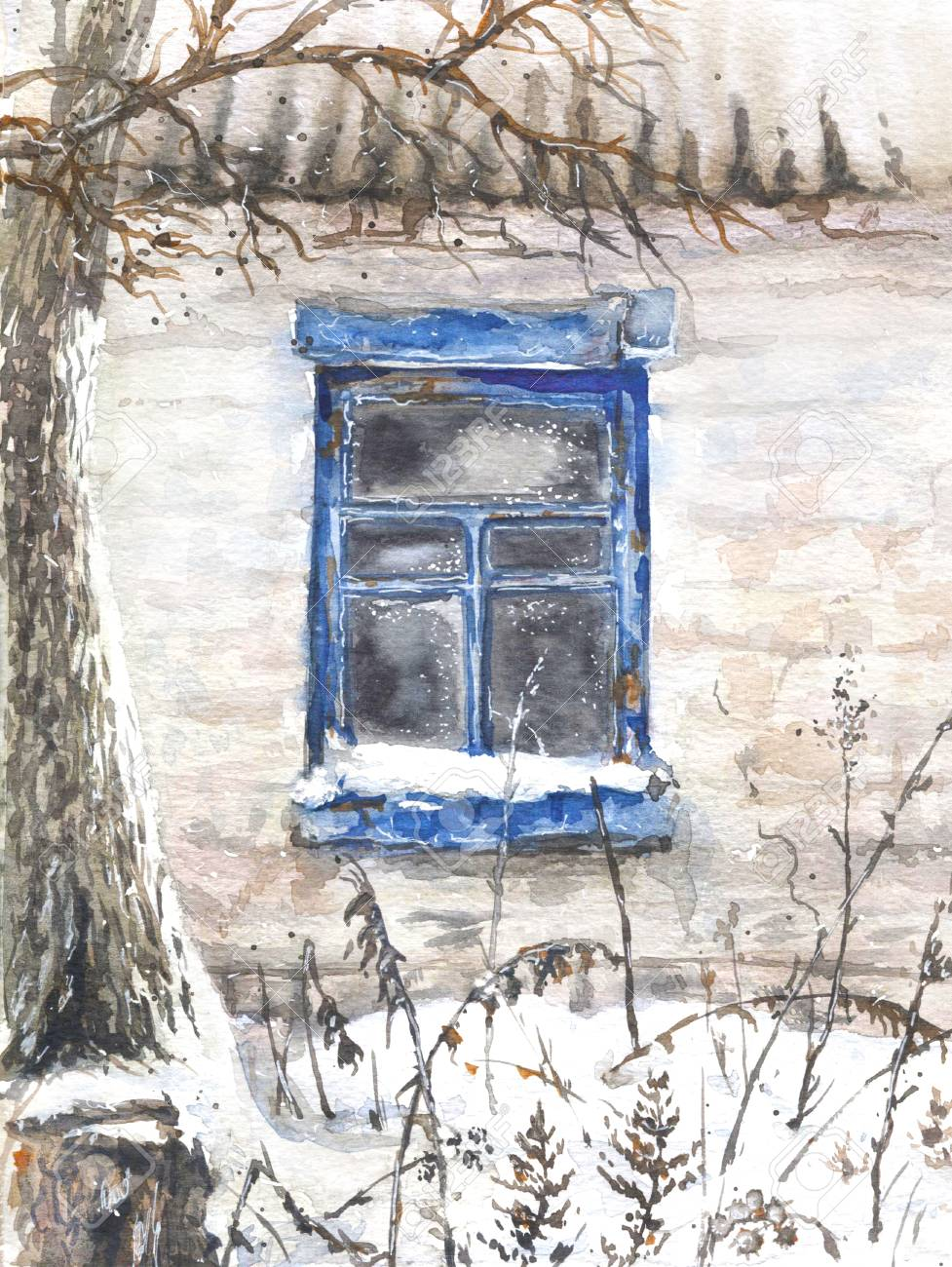 Watercolor Painting Hand Drawn Wall With Window Of An Old Abandoned