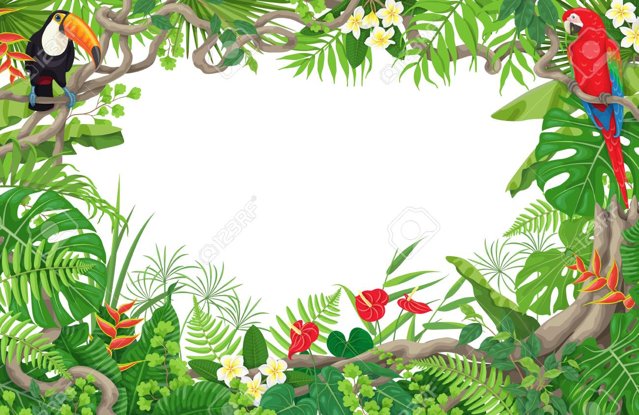 Colorful tropical leaves and flowers background. Horizontal floral frame with birds Macaw and Toucan sitting on liana branches. Space for text. Rainforest foliage border. Vector flat illustration. - 94179502