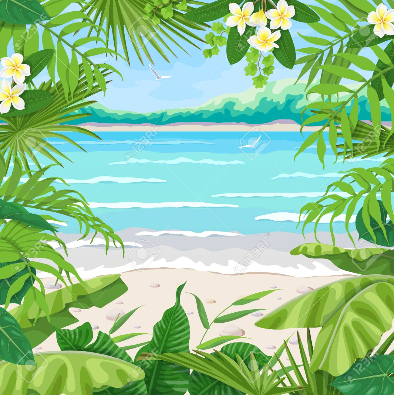 Summer background with tropical plants. Square floral frame on sea coast landscape. Tropic foliage border on seascape beach, waves, pebble, birds and distant trees. Vector flat illustration. - 104291730