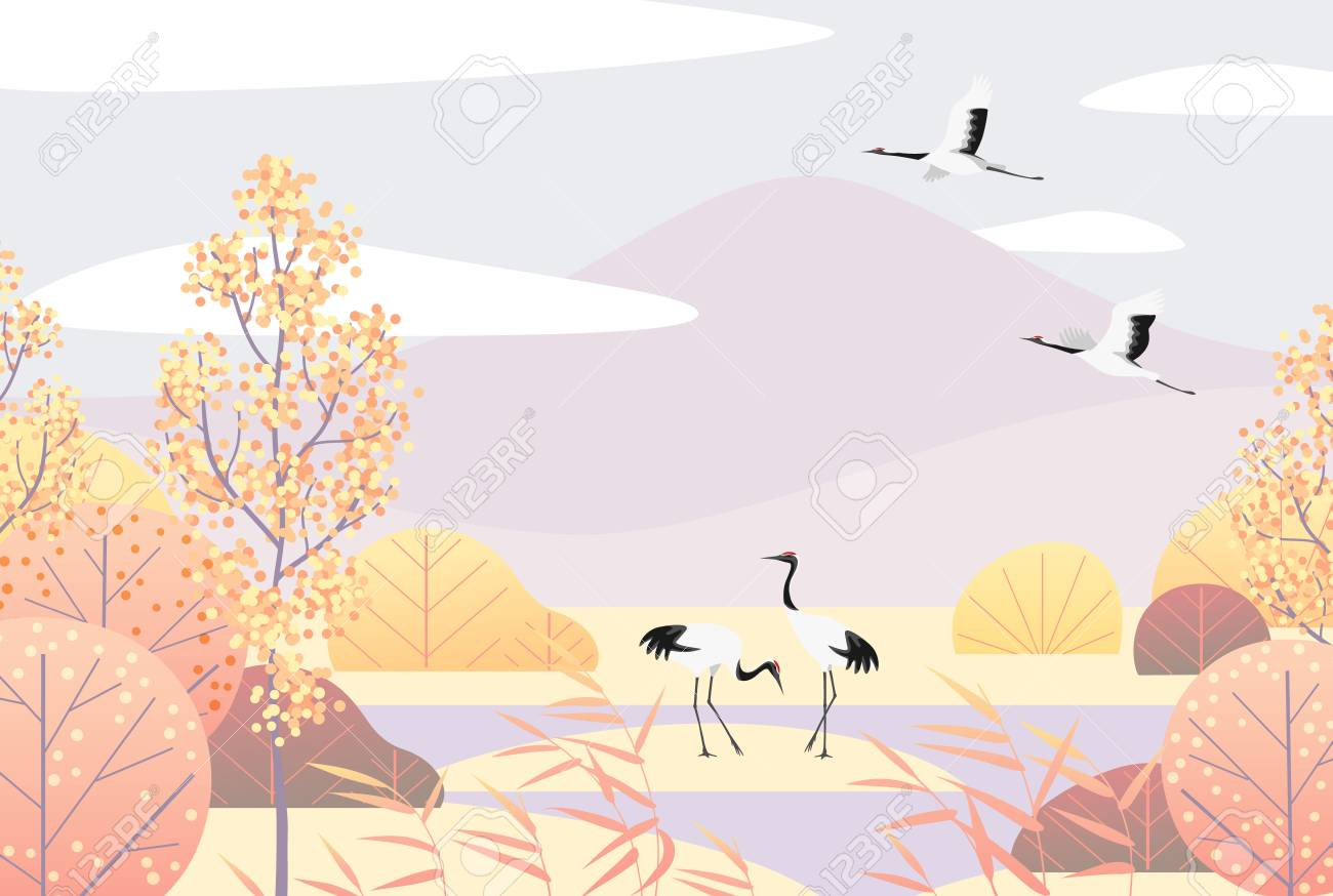 Nature background with wetland scene and Japanese red-crowned cranes. Autumn landscape with mountains, trees, reed and birds. Vector flat naive illustration. - 108775024