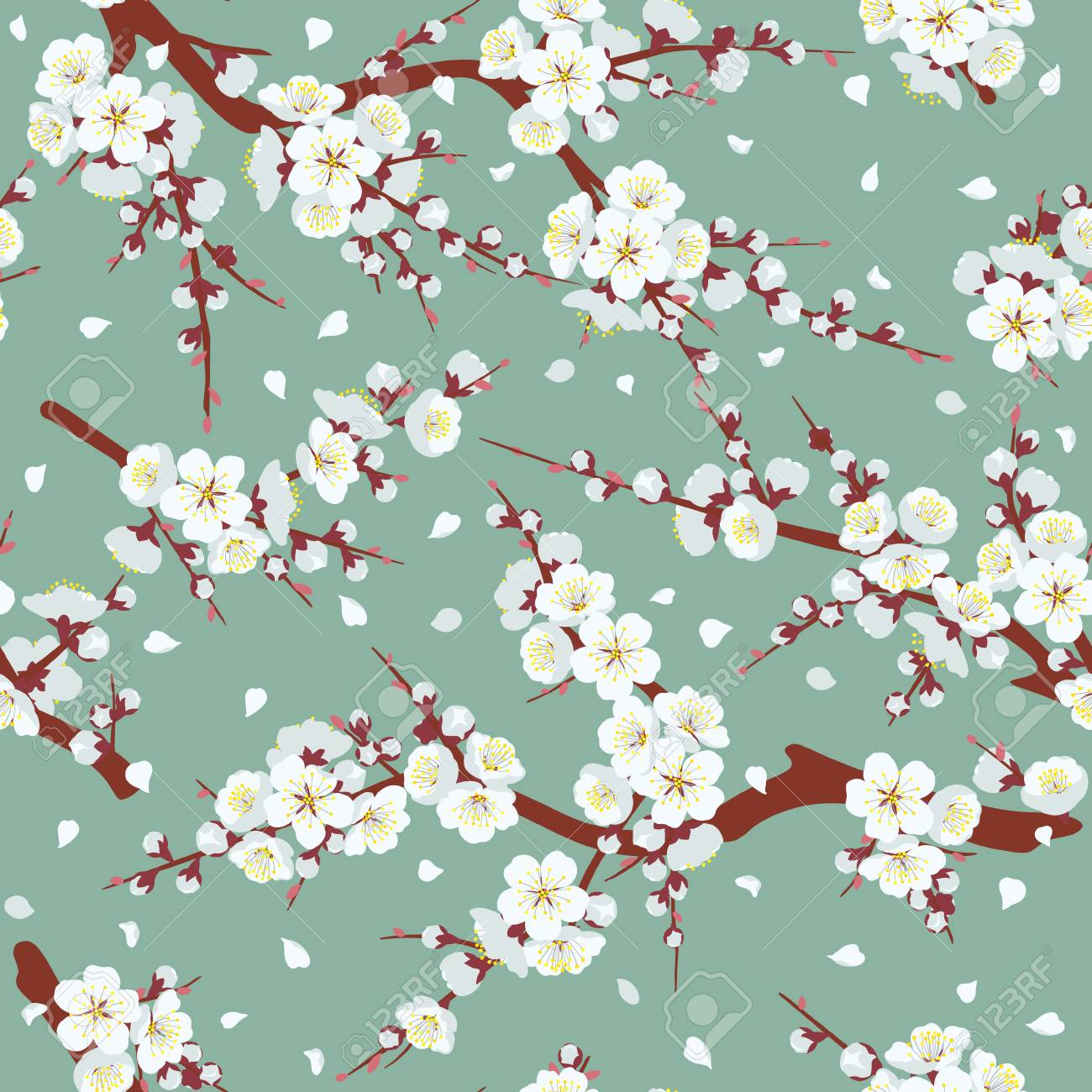 Seamless pattern with flowering tree branches on green background. Endless texture decoration with white flowers and flying petals. Vector flat illustration. - 127315407