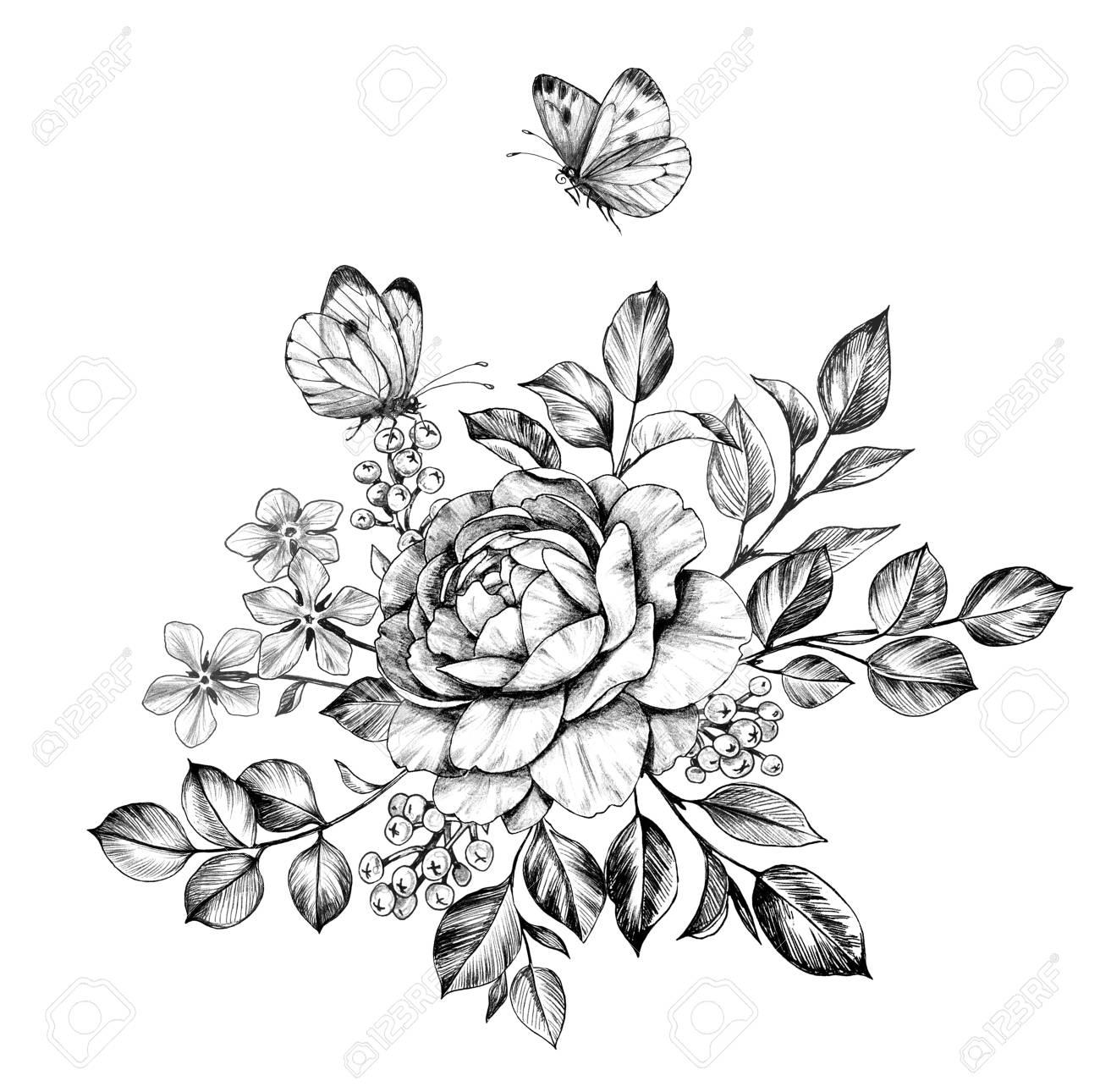 Flower Tattoo Design White Background