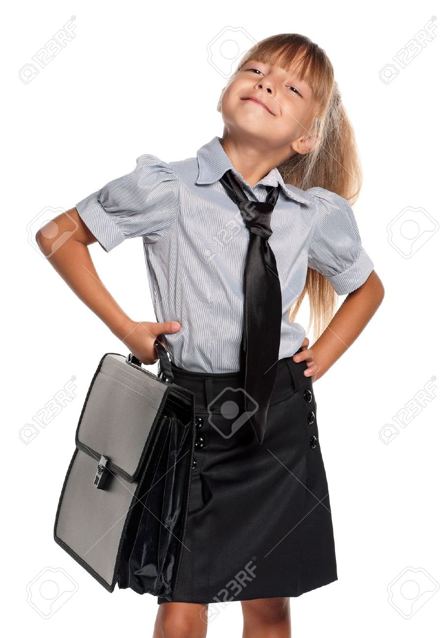 Little girl with briefcase Stock Photo - 15315365