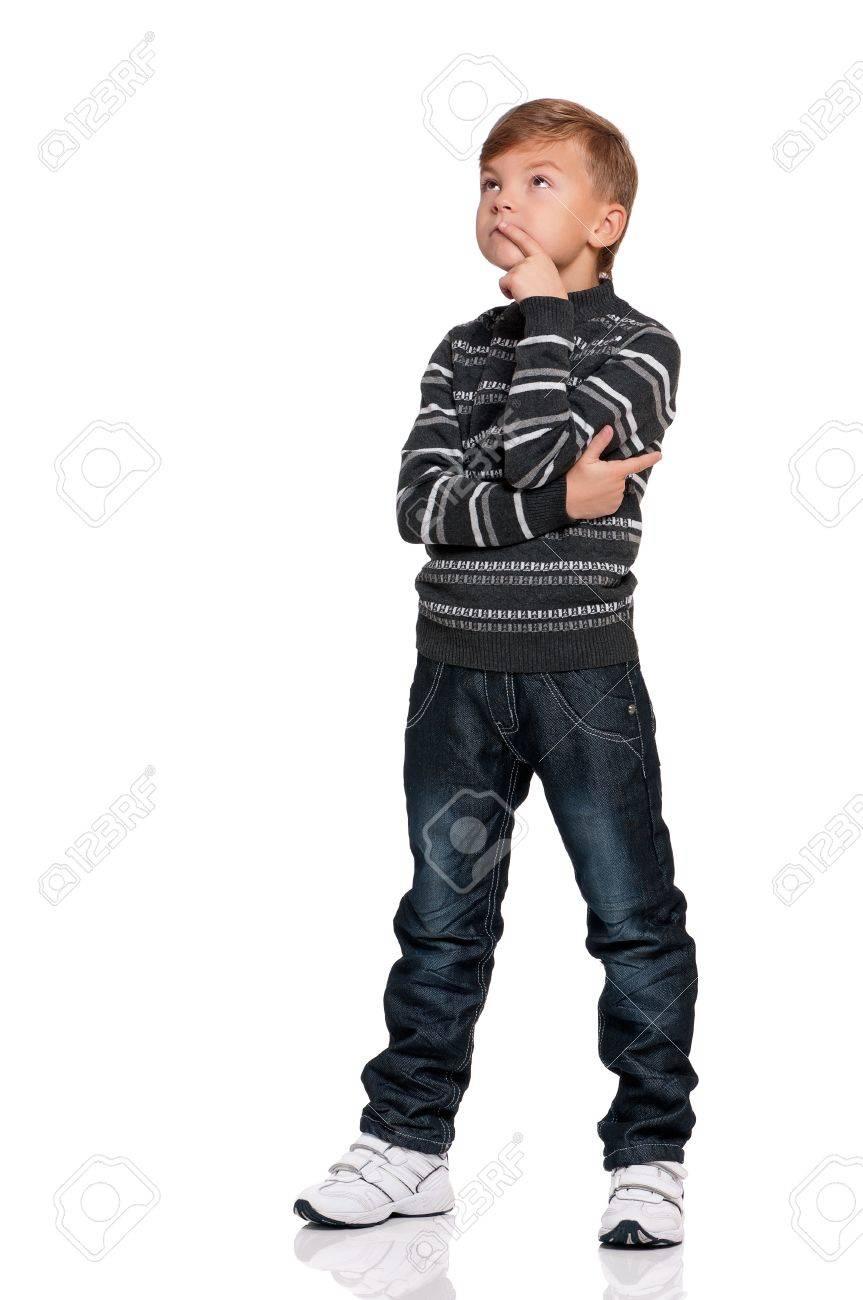Portrait of thoughtful boy isolated on white background Stock Photo - 16380540