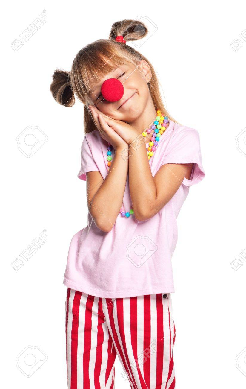Little girl with clown nose Stock Photo - 17927210