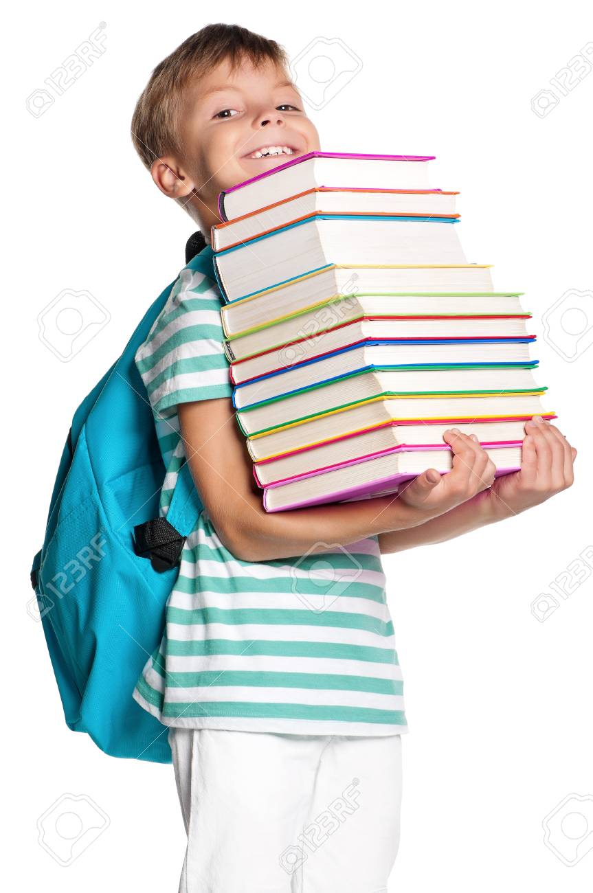 Happy little boy with books isolated on white background Stock Photo - 27258739