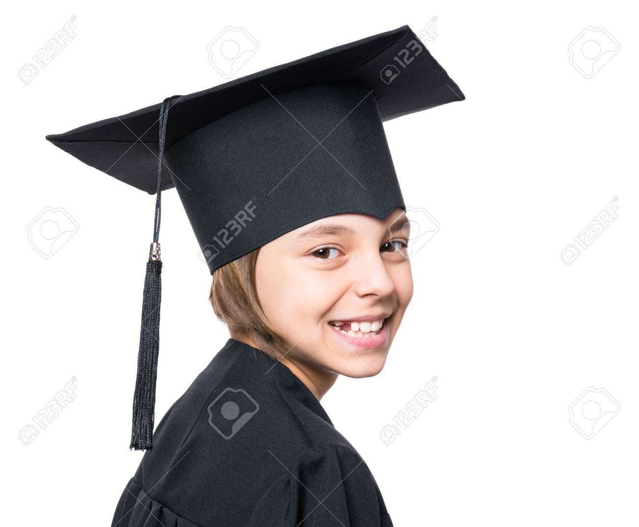 Portrait Of A Graduate Little Girl Student In A Black Graduation ...