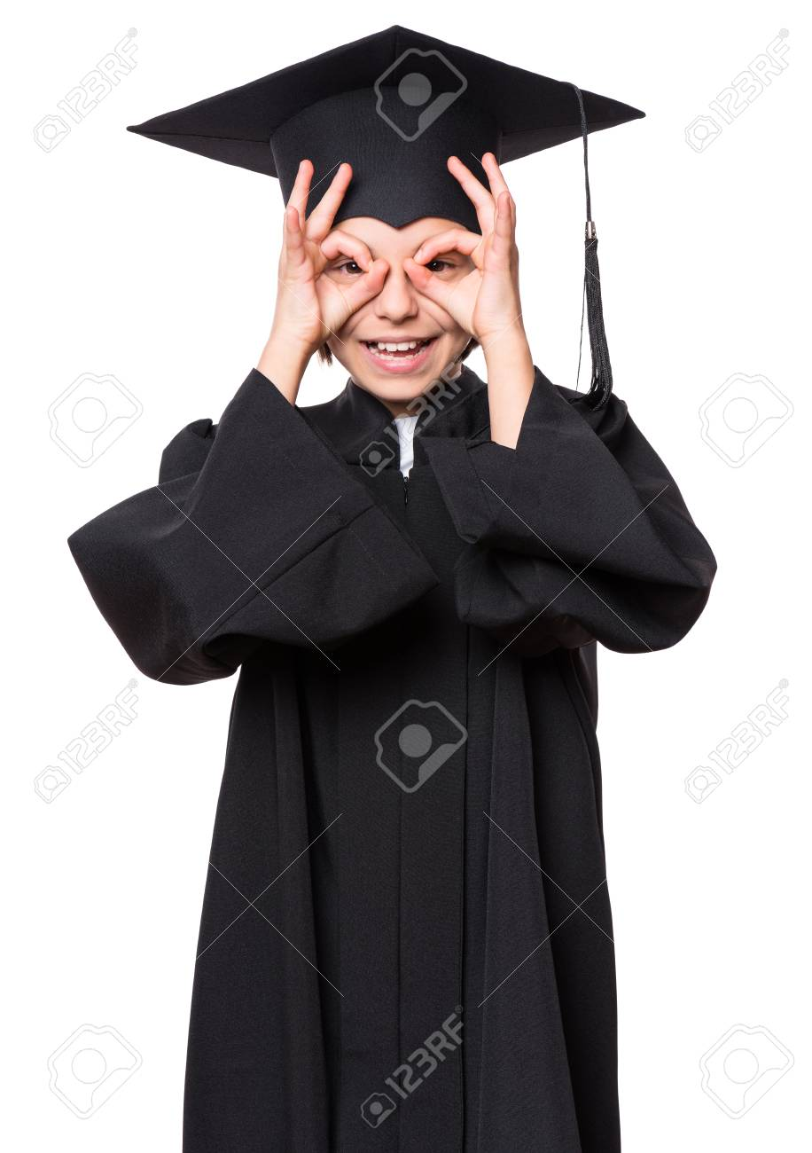 Graduate Little Happy Girl Student In Black Graduation Gown With ...