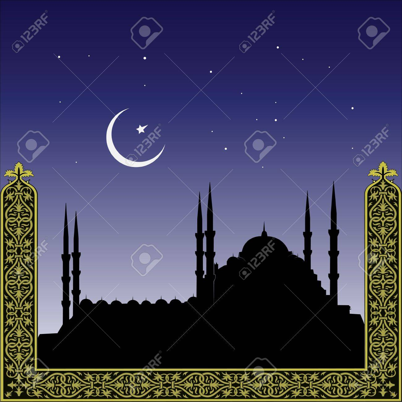 silhouette of mosques and minaretts with ornament Stock Vector - 5431042