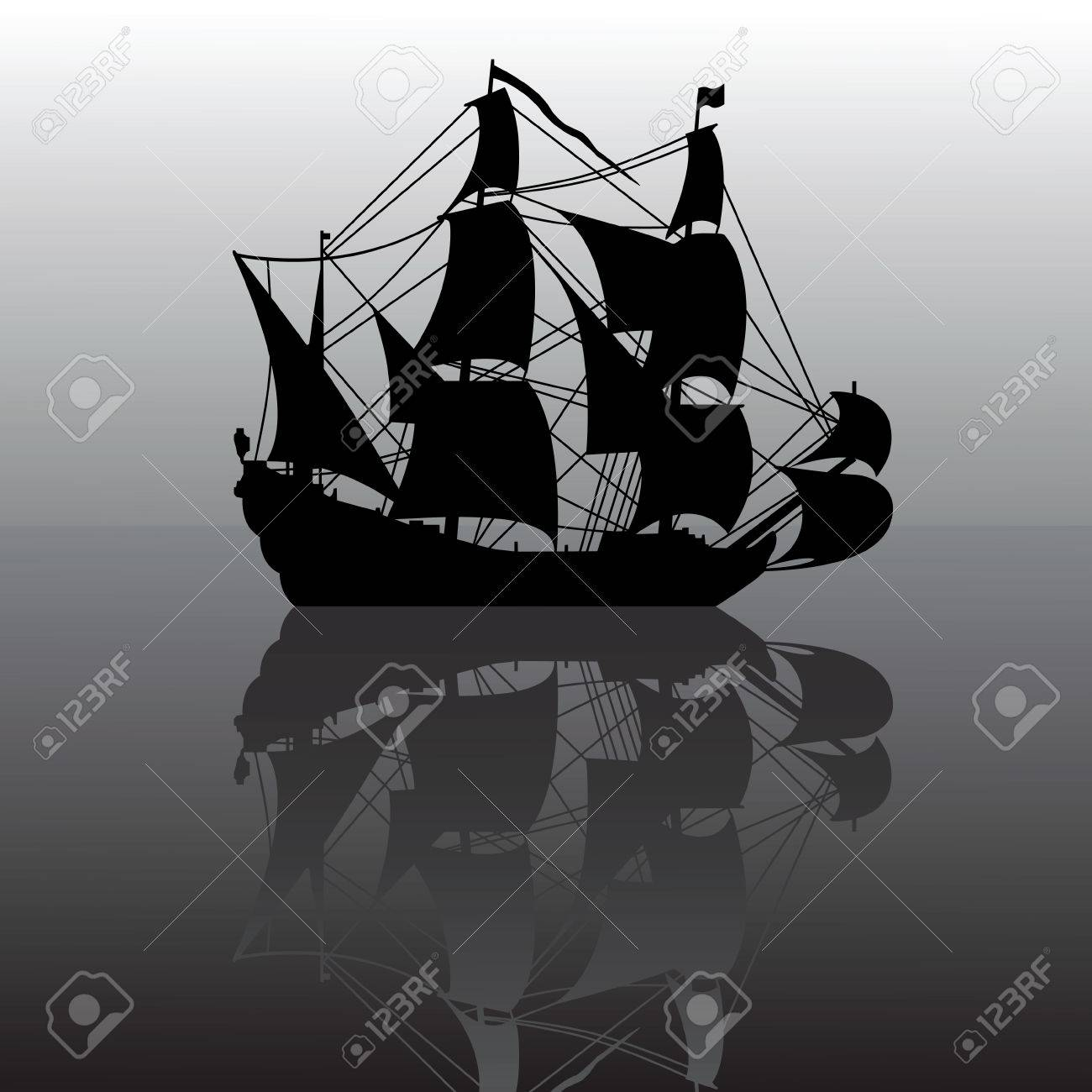 vector illustration of sailboat silhouette with reflection Stock Vector - 5654036