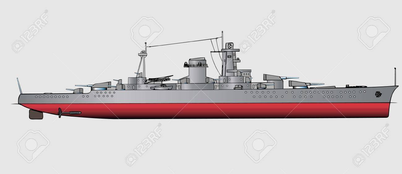 Military navy ships .Vector art illustration of battleship Stock Vector - 6195416