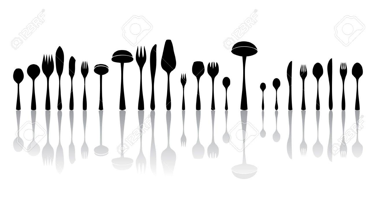 silverware black and white silhouettes Stock Photo - 8209695