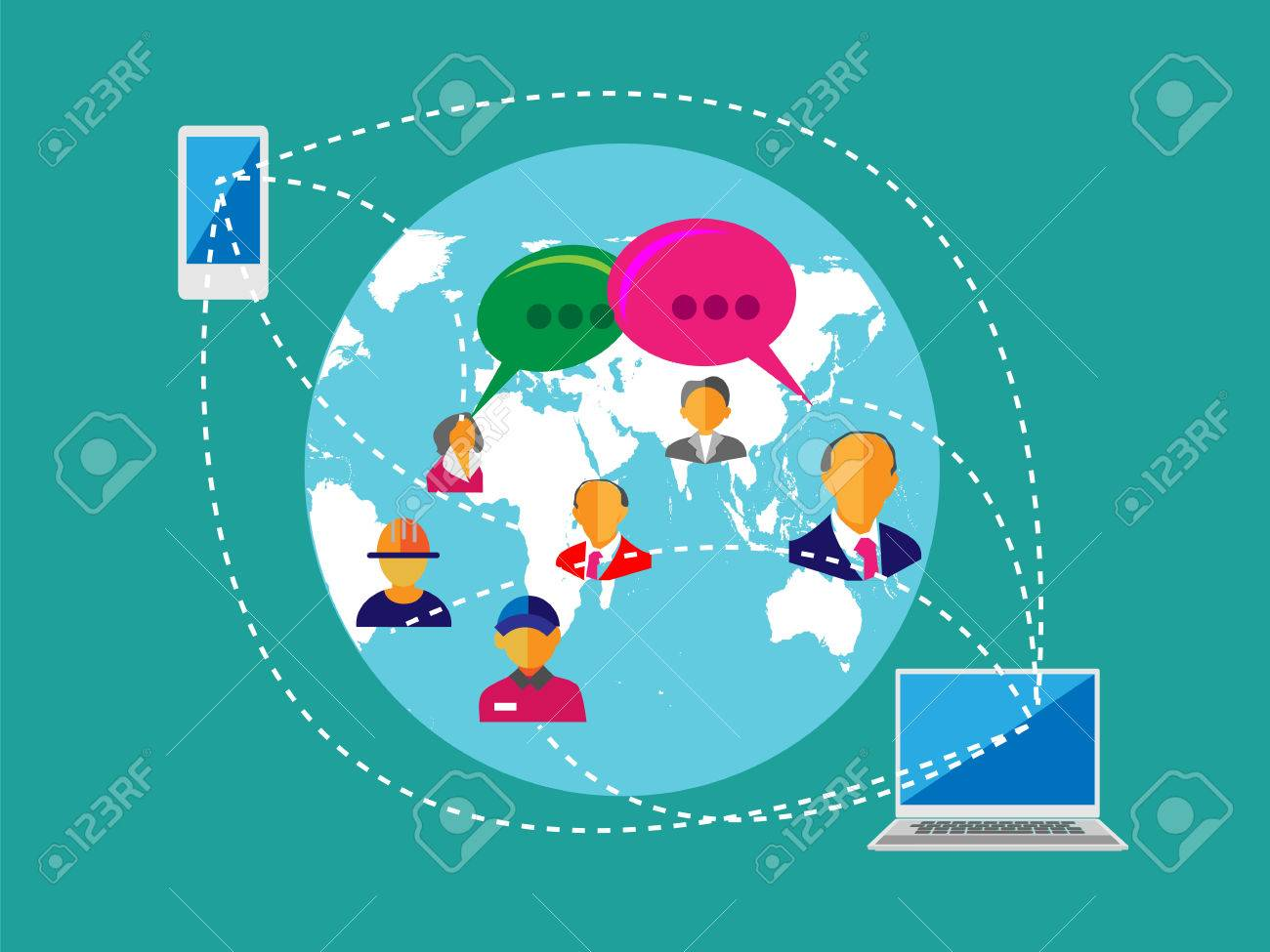 Concept of Social network, People connecting across the world