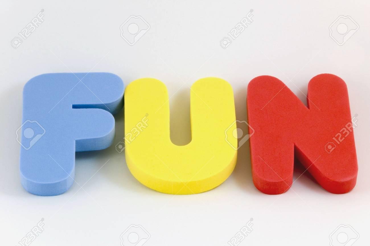 stock photo the word fun written in large foam letters