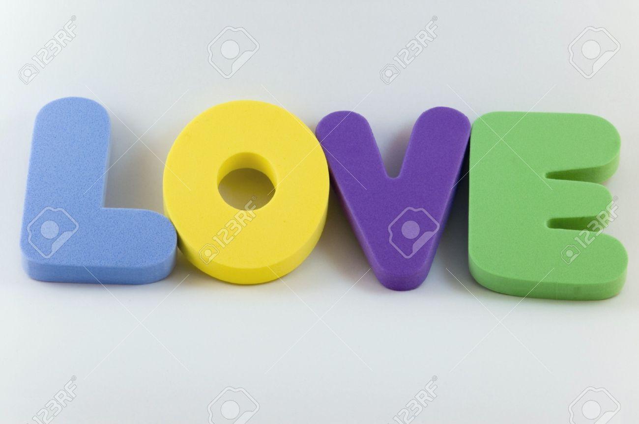 stock photo the word love written in large foam letters