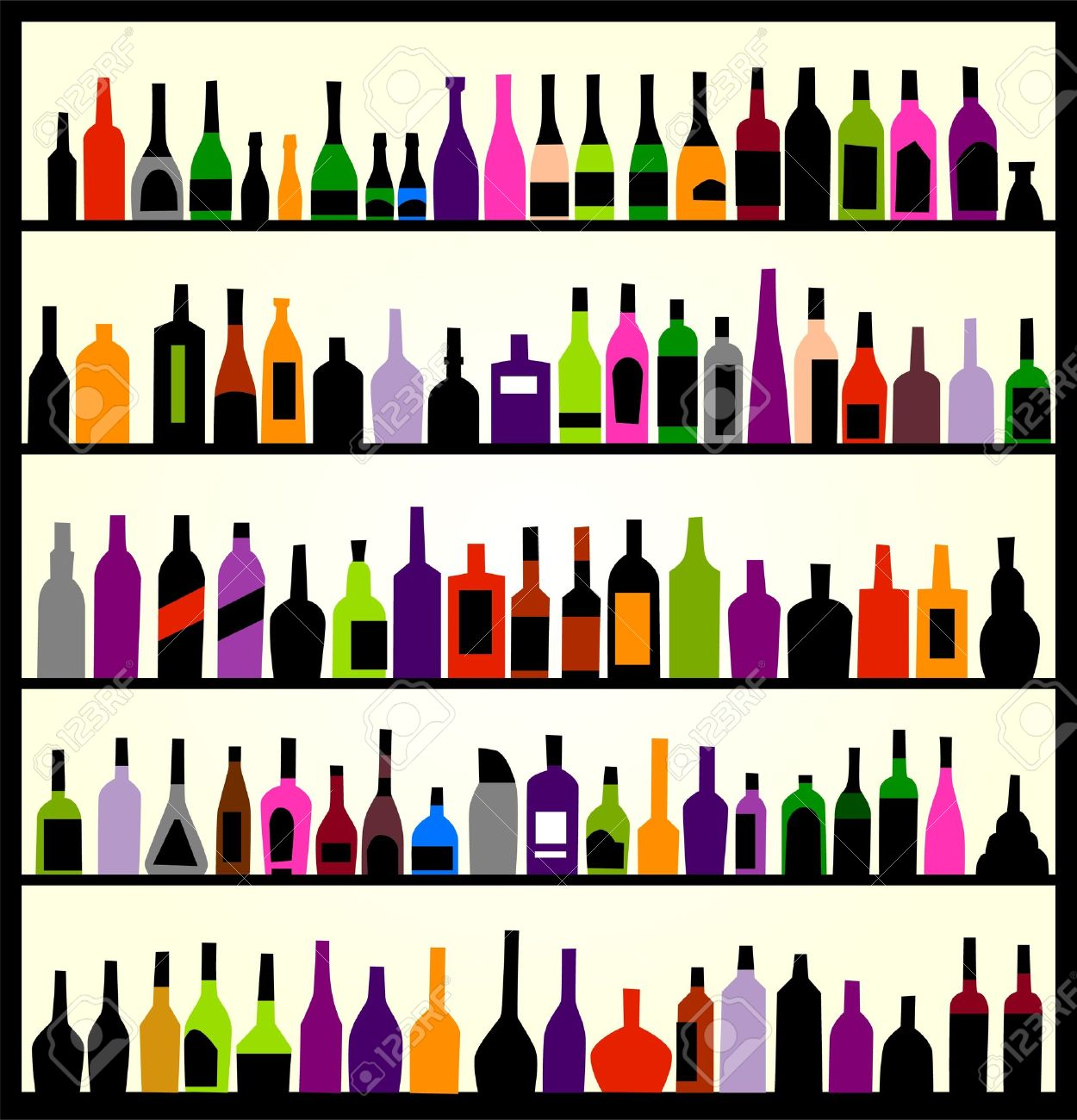 alcohol bottles on the wall Stock Vector - 9259620