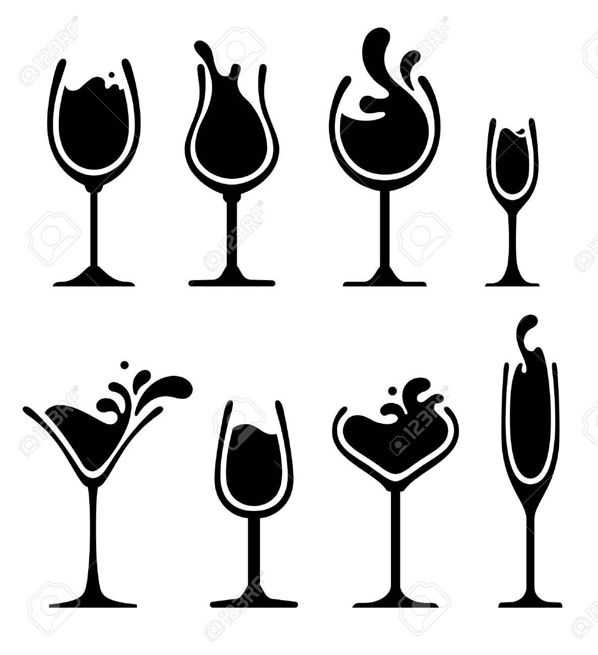 set of black and white splashing wine on glass royalty free cliparts