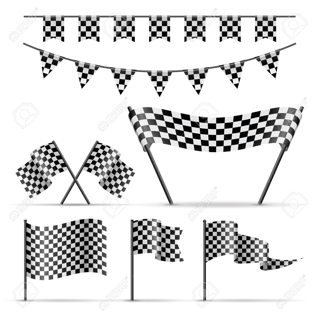 Set Of Sport Checkered Flags And Banner On White Background Royalty Free Cliparts Vectors And Stock Illustration Image 77737078