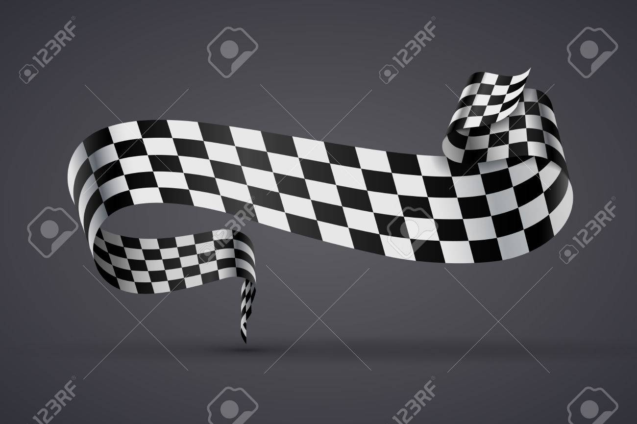Black And White Checkered Curved Flag Or Ribbon Sport Banner