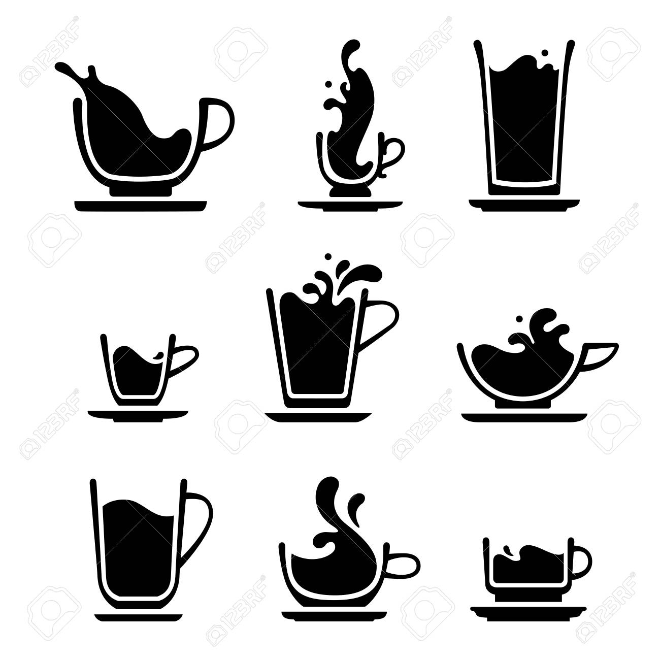 set of splash silhouette cup of tea coffee water milk or juice royalty free cliparts vectors and stock illustration image 97275520 123rf com