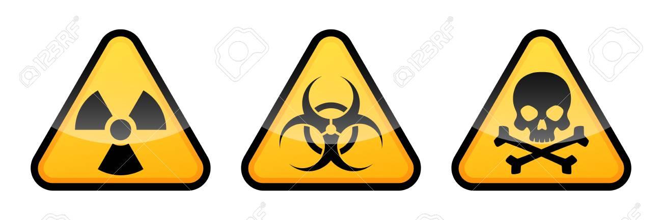 Warning vector signs. Radiation sign, Biohazard sign, Toxic sign. - 97820253