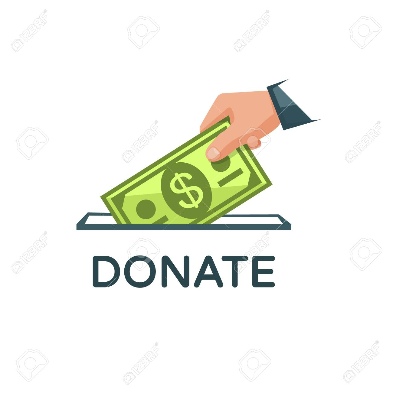 Donate Money Vector Illustration. Charity, Donation Concept... Royalty Free  Cliparts, Vectors, And Stock Illustration. Image 124103044.