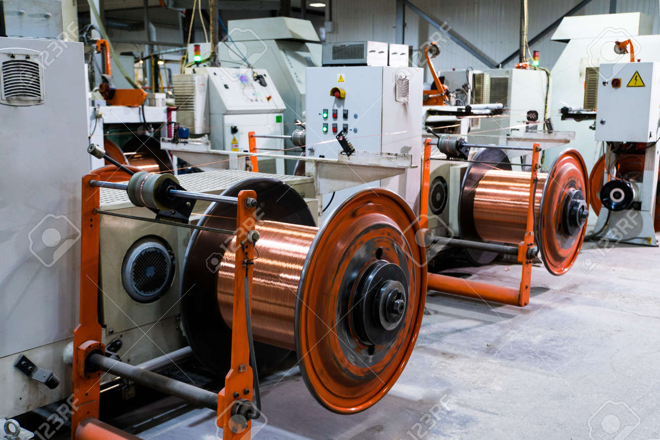 Production of copper wire, bronze cable in reels at factory - 155230827