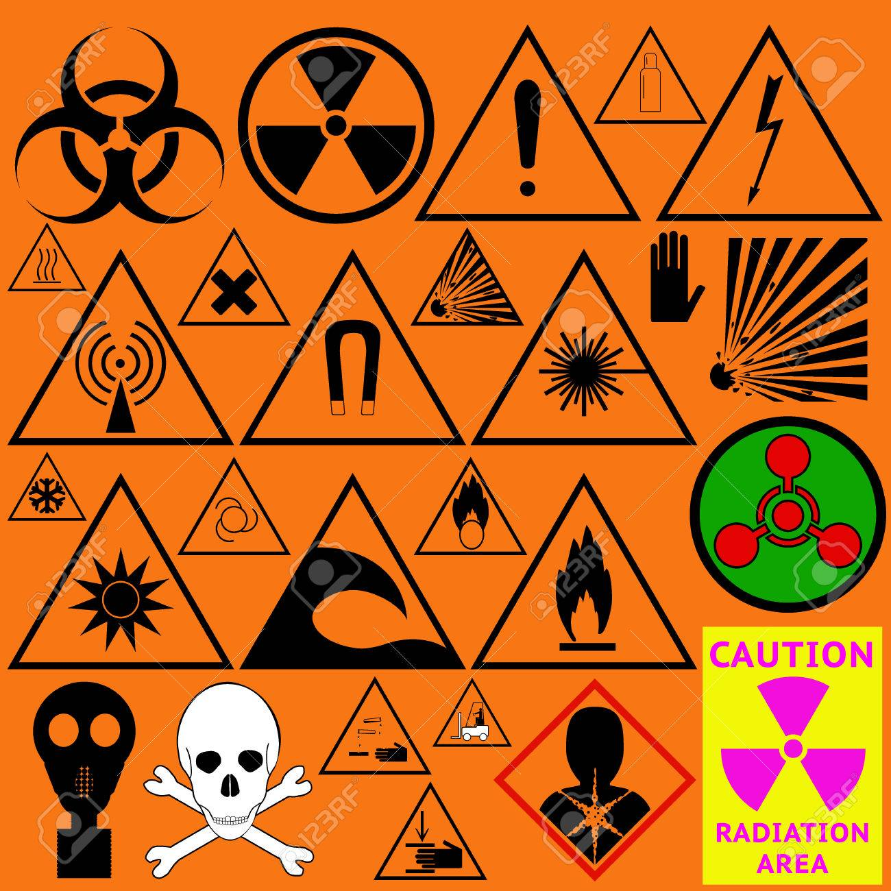Set of hazard symbols biological dangerous ionizing radiation set of hazard symbols biological dangerous ionizing radiation chemical weapon poison biocorpaavc Image collections