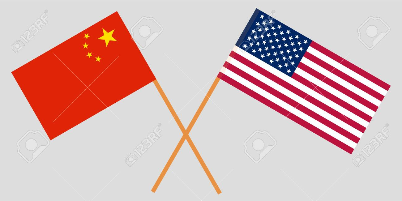 Crossed United States Of America And Republic Of China Flags Royalty Free Cliparts Vectors And Stock Illustration Image 110092179