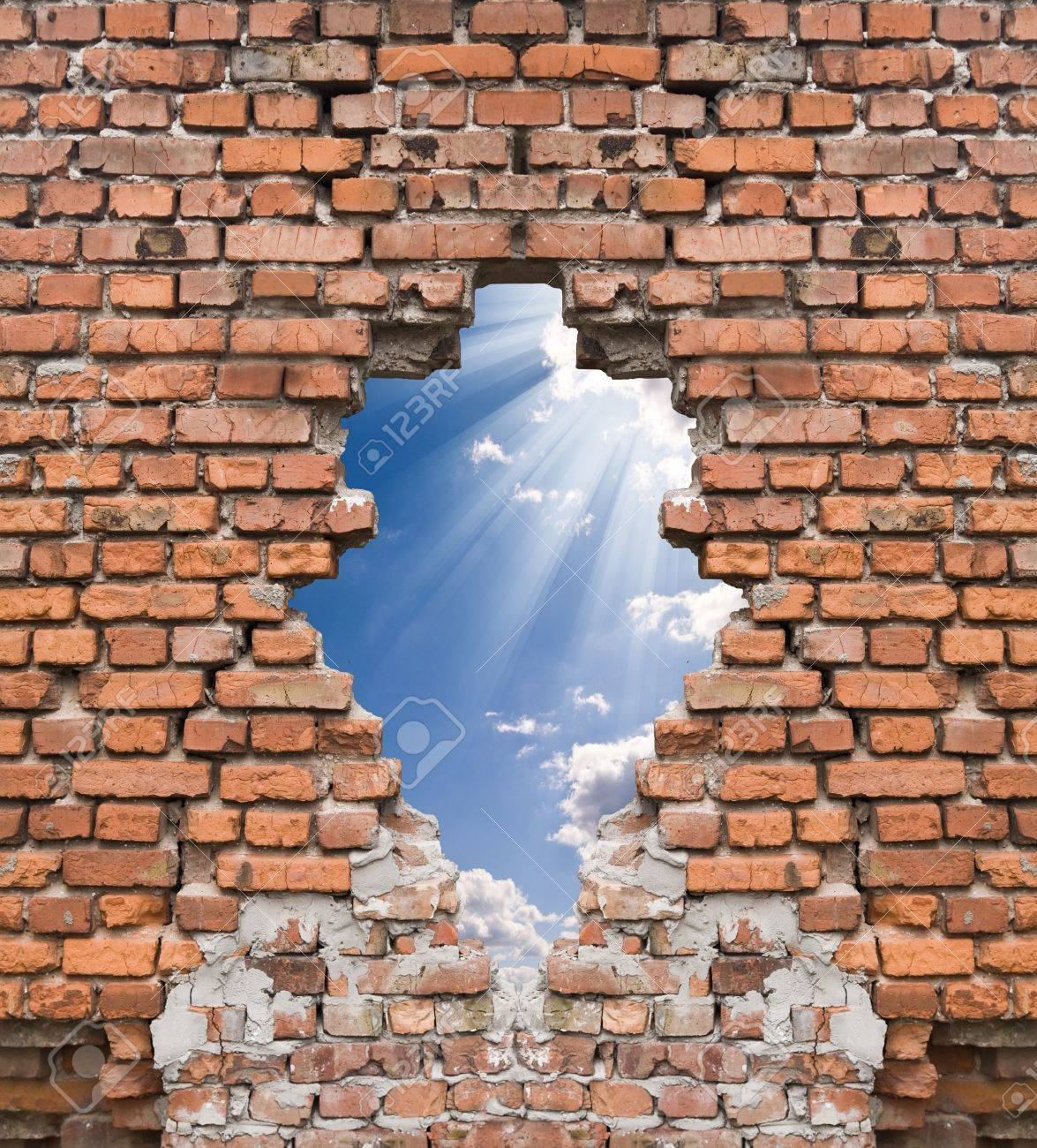 old wall and blue sky with clouds Stock Photo - 13858307