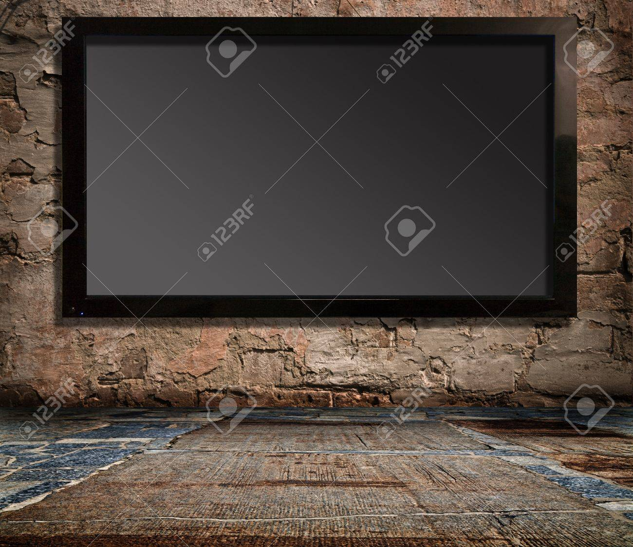 interior with a television set on an old wall - 13858324