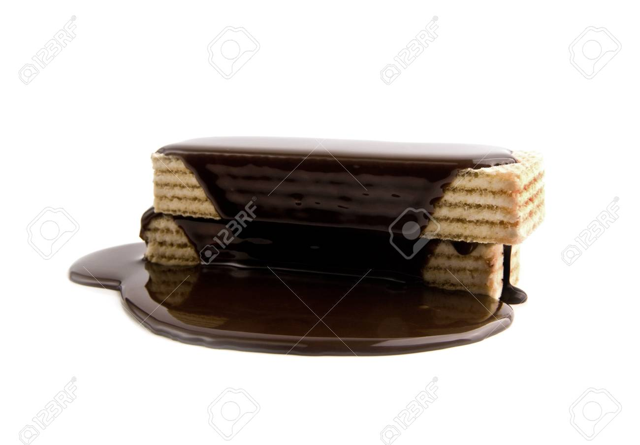 waffles in a chocolate on a white background Stock Photo - 15403549