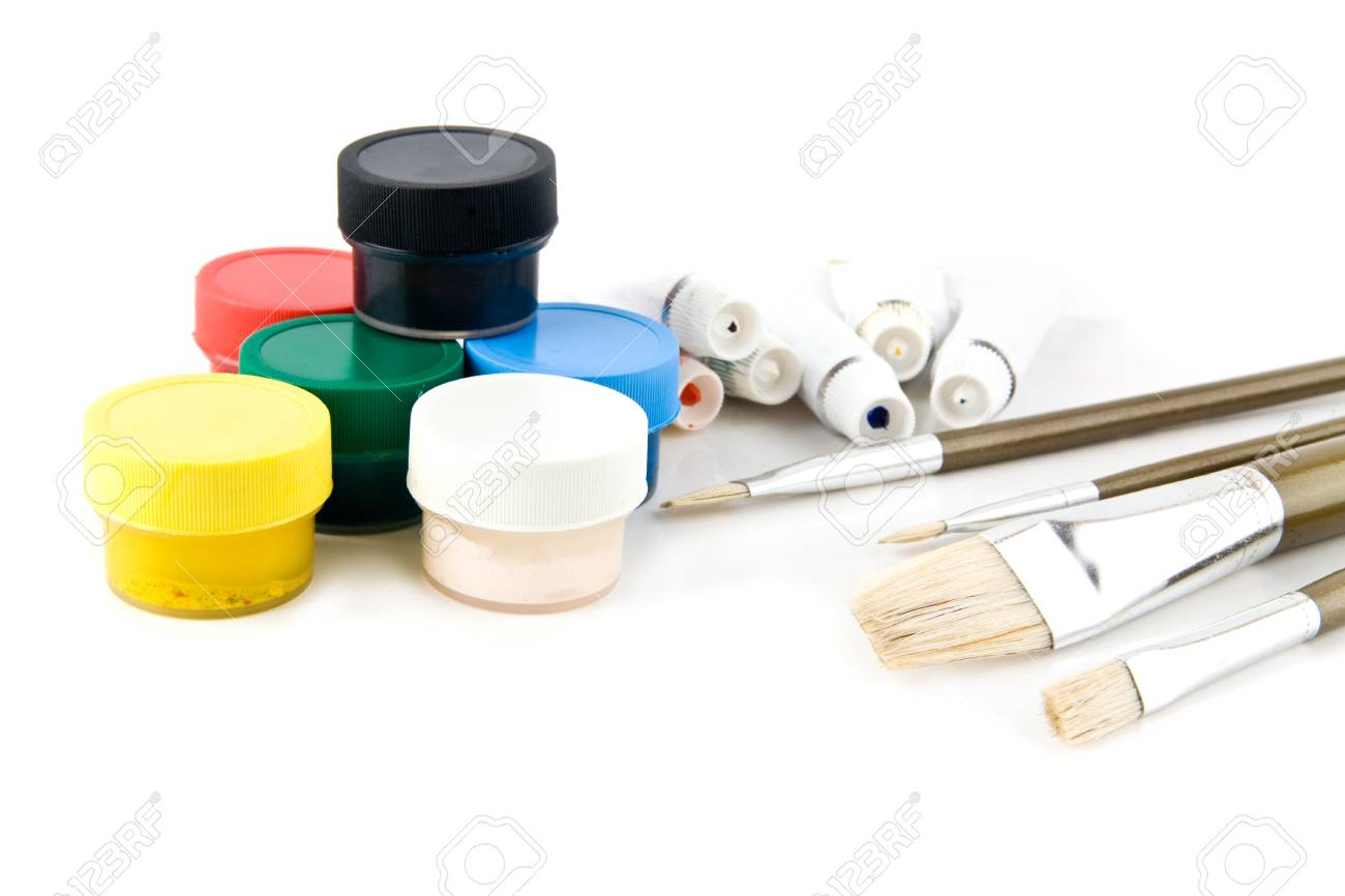brushes and paints on a white background Stock Photo - 15630343